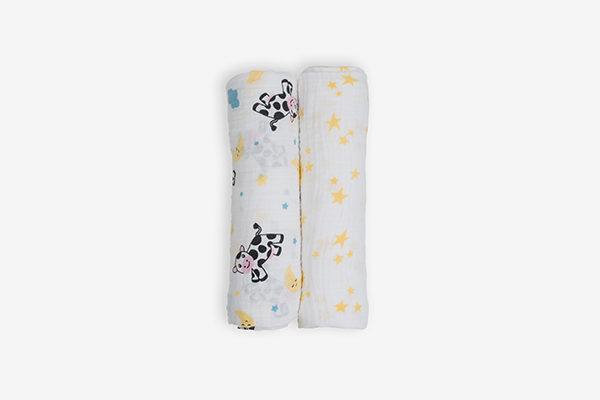 Deanie Organic Baby Cow and Stars Duo (Swaddles)