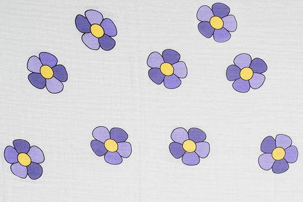 Flower Power I - Royal Purple and Yellow Uno (Swaddle)