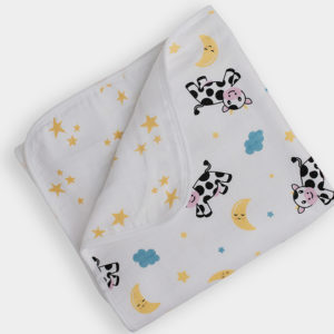 Cow & Starlight, Star Bright Reversible Medium Baby Blanket 35 x 35 inch