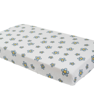 Blue Flower Crib Sheet