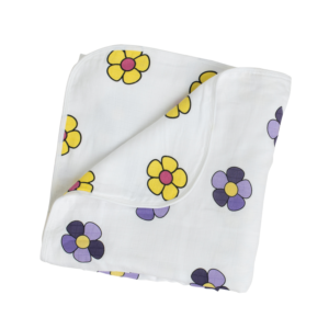 Sunshine Yellow and Royal Purple Flower Reversible Baby Blanket