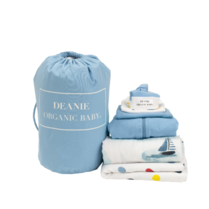 Sailing Boats on Watercolor Lake Mini Layette - Light Blue